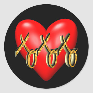 Hugs and Kisses Heart T-shirts and Gifts Stickers