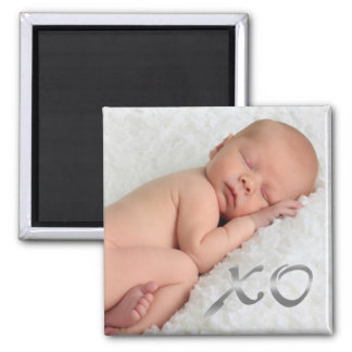 Hugs and Kisses in Silver Baby Photo Magnet