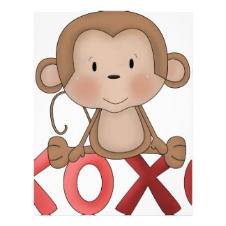 Hugs and Kisses monkey Letterhead Template
