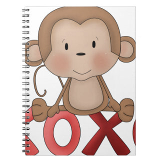 Hugs and Kisses monkey Spiral Note Book