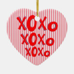 Hugs And Kisses Double-Sided Heart Ceramic Christmas Ornament