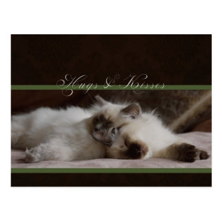 Hugs and kisses postcard
