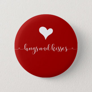 Hugs and Kisses Valentine's Day Round Button