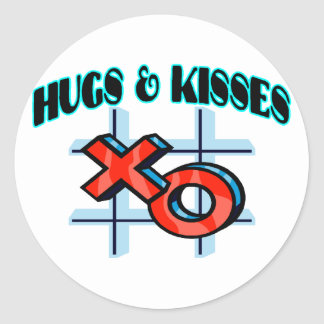 Hugs And Kisses XO Classic Round Sticker
