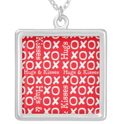 Hugs and Kisses X's and O's Silver Plated Necklace