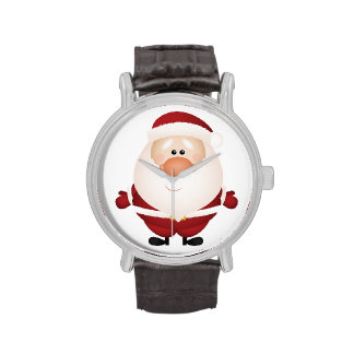 Hugs from Santa Claus Vintage Leather Strap Black Wristwatches