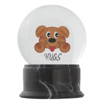 Hugs front / iCare Back Black Marble Finish Snow Globe
