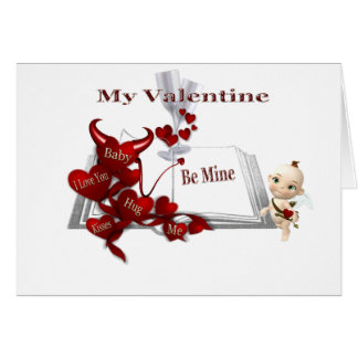 hugs kiss me, cupid greeting card