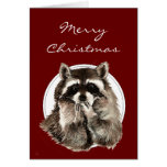 Hugs & Kisses Christmas Wishes with Cute Raccoon Greeting Card