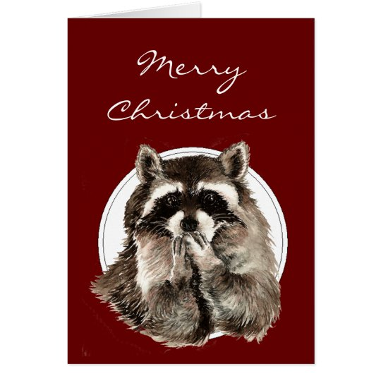 Hugs & Kisses Christmas Wishes with Cute Raccoon Card