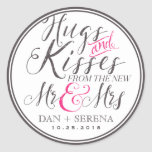 Hugs Kisses From Mr And Mrs Wedding Favor Sticker at Zazzle