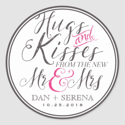 Hugs Kisses from Mr and Mrs Wedding Favor Sticker