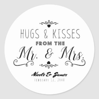HUGS & KISSES From the MR. & MRS. Wedding Favor Classic Round Sticker