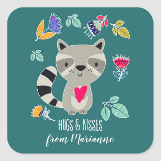 Hugs & Kisses. Funny Raccoon Custom Gift Stickers