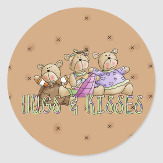 Hugs & Kisses Round Stickers