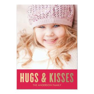 "Hugs & Kisses | Valentine's Day Photo Card 5"" X 7"" Invitation Card"