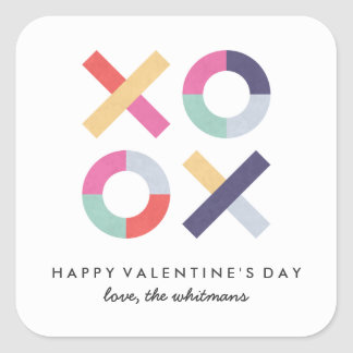 Hugs   Kisses Valentine's Day Sticker - Powder