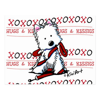 Hugs & Kisses Westie Postcard