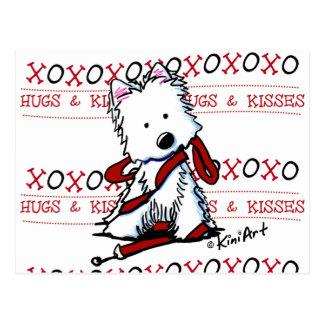 Hugs & Kisses Westie Postcard