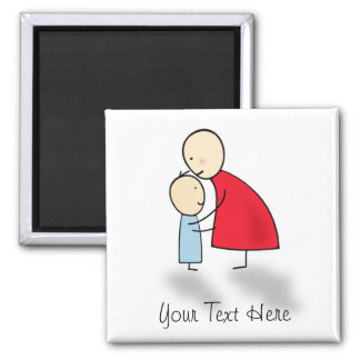 Hugs - Mother & Child 2 Inch Square Magnet