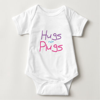 Hugs not Plugs (Pink) Baby Bodysuit