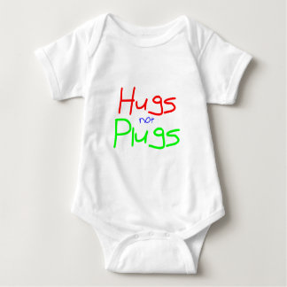 Hugs not Plugs (Red) Baby Bodysuit