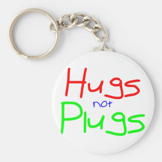 Hugs not Plugs (Red) Keychain