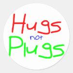 Hugs not Plugs (Red) Sticker