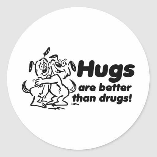 Hugs or Drugs? Round Stickers