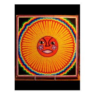 Huichol String Art Sun Mexican Folk Art Postcard
