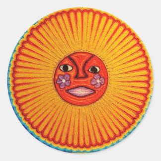 Huichol String Art Sun Mexican Folk Art Classic Round Sticker