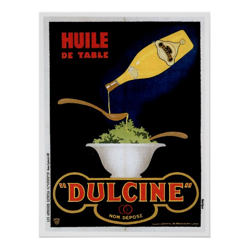 Huile De Table Dulcine Vintage Food Ad Art Poster
