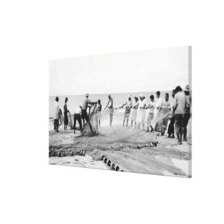 Hukilau pesca a los hombres que pescan la fotograf lienzo envuelto para galerias