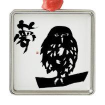 hukurou dream OWL cutting picture calligraphy good Metal Ornament