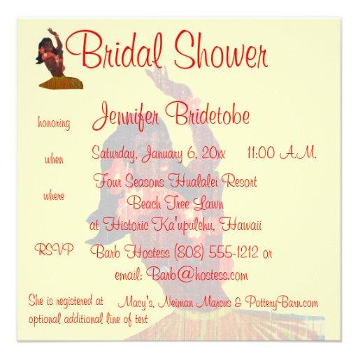 Hula Aloha Luau Bridal Shower Custom Announcements