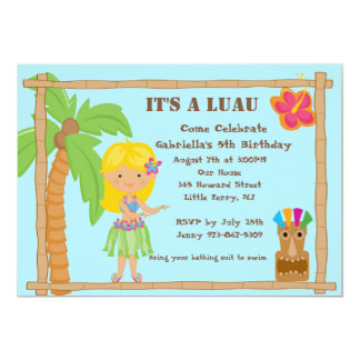 Hula Blonde Girl Luau Birthday Invitation