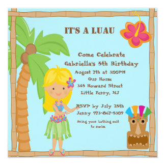 Hula Blonde Girl Luau Square Birthday Invitation