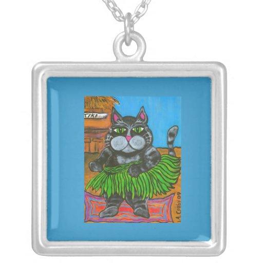Hula Cat at a Tiki Bar Necklace