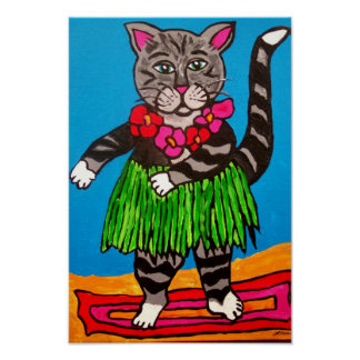 Hula Cat with Lei Poster