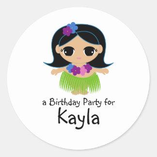 hula cutie BIRTHDAY luau party favor sticker