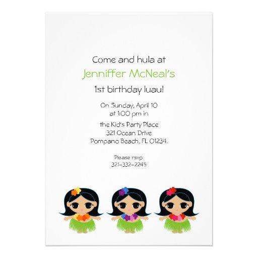 hula cutie BIRTHDAY PARTY invitation