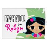 hula cutie BIRTHDAY PARTY thank you card