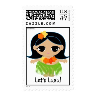 hula cutie LUAU PARTY postage stamp