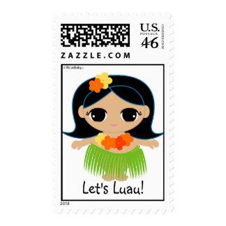 hula cutie LUAU PARTY postage stamp