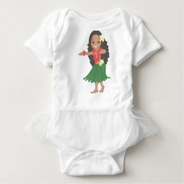 Hawaiian Themed Hula Dancer Baby Bodysuit