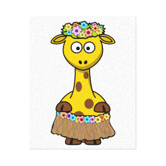 Hula Dancer Giraffe Cartoon Stretched Canvas Prints