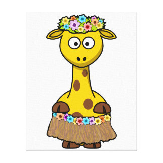 Hula Dancer Giraffe Cartoon Canvas Print