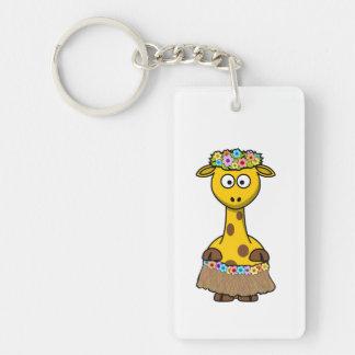 Hula Dancer Giraffe Cartoon Keychain