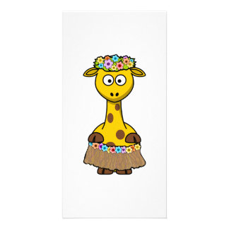 Hula Dancer Giraffe Cartoon Personalized Photo Card