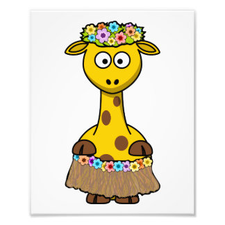Hula Dancer Giraffe Cartoon Photo Art